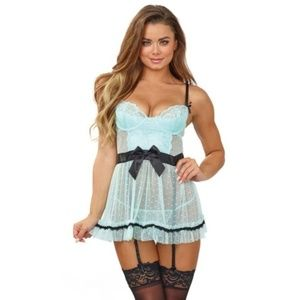 NEW Apron Maid Babydoll G-string Lingerie Set